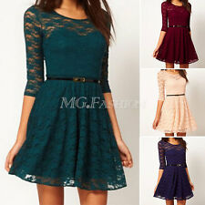Womens Sexy Spoon Neck Slim 3/4 Sleeve Cocktail Lace Skater Dress Belt Include