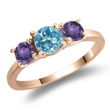 1.10 Ct Round Swiss Blue Topaz Purple Amethyst 925 Rose Gold Plated Silver Ring