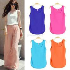 Fashion Women Summer Casual Chiffon Vest Top Tank Sleeveless Shirt Flower Blouse