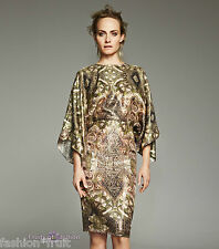 H&M Conscious 2014 Gold Silk Blend Kimono Dress New Exclusive UK 8 10 12