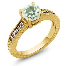 1.42 Ct Round Green Amethyst White Diamond 18K Yellow Gold Engagement Ring