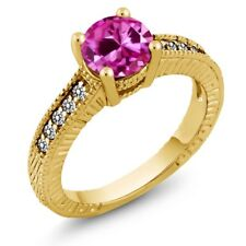 1.83 Ct Pink Created Sapphire White Diamond 18K Yellow Gold Engagement Ring
