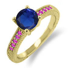 1.85 Ct Blue Simulated Sapphire Pink Sapphire 925 Yellow Gold Plated Silver Ring