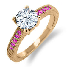 1.78 Ct Round White Topaz Pink Sapphire 18K Rose Gold Plated Silver Ring