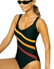 Brand New Striped Print Slimming One Piece Swimsuit Swimwear Black EU 36-54
