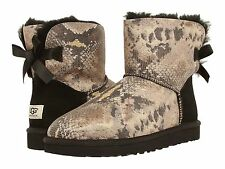 NEW - Women's Ugg MINI BAILEY BOW SNAKE Black Boots - 1005534-BLK