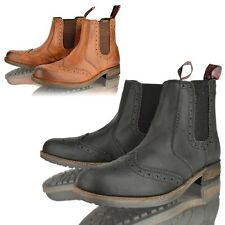 MENS REAL LEATHER ANKLE CHELSEA BROUGE DEALER SLIP ON CASUAL BOOTS SHOE SIZE