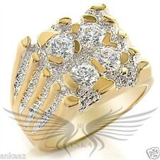 Men's Gold Plated AAA Grade Cubic Zircon CZ Ring 8 9 10 11 12 13 2w042