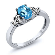 0.75 Ct Oval Swiss Blue Topaz White Diamond 925 Sterling Silver Ring