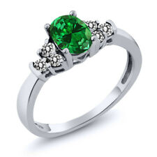 0.88 Ct Oval Green Simulated Emerald White Diamond 925 Sterling Silver Ring