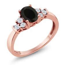 0.63 Ct Oval Black Onyx White Topaz 925 Rose Gold Plated Silver Ring