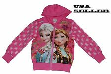 Kids Girls Cartoon Frozen Elsa Anna Sweatshirt  Hoodie Pink Long Sleeve Tops