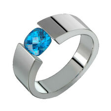 Titanium Engagement Band 6mm Blue Topaz Tension Set Polished Ring Him N Her