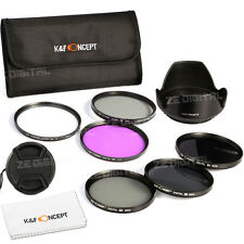 52 58 67 72 77mm UV CPL FLD ND2 ND4 ND8 Neutral density Lens Filter Kit Hood Cap