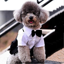 Pet Dog Cat Clothing Prince Tuxedo Cute Bow Tie Suit Puppy Costume Jumpsuit Coat