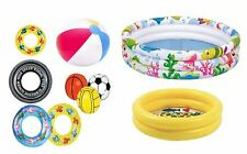 Inflatable Tube & Ball Paddling Pool Ring Tyre Swim Rubber Beach Summer New