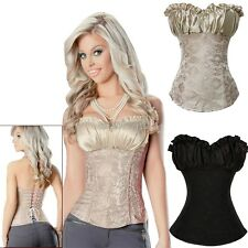 Women Lace Up Boned Floral Corset Lingerie Bustier Basques Top Satin Overbust