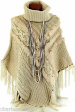 Poncho Cape Fourrure Tricot 38/52 Pull Beige - CELESTINE - Femme - CharlesElie94