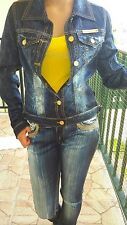 Roberto Cavalli: Womens Blue 'Jean' Jacket With Flower Pattern.