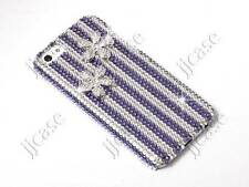 Bling Flower & Stripe Cell Phone Case with Swarovski Elements for iPhone 5 5S 5C