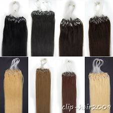 Hair Extensions Easy Loops tipped Micro Ring Beads Remy Indian Human Hair 16Inch