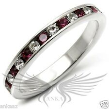 Brilliant Round Cut Cubic Zircon CZ AAA 925 Silver Eternity Band Size 7 35126