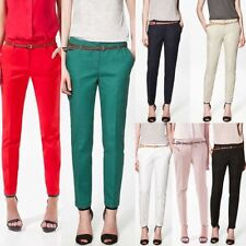 Women OL Girls Casual Candy Color Skinny Belted Pencil Pants Fashion Trousers