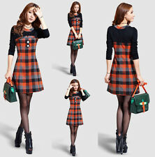 Top Fashion Women Plaid Splicing Long Sleeve Wear To Work Cocktail Party Dress