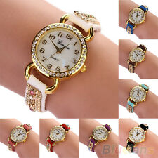 Stunning Practical Women Geneva Shell Face Faux Suede Crystal Quartz Wrist Watch