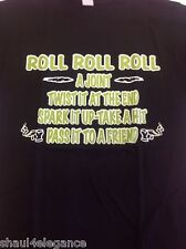 Roll Roll Roll A Joint MJ Black Ganja NEW 100% Cotton Graphic Tee Camiseta