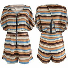 NEW LADIES CHIFFON STRIPE PRINT PLAYSUIT WOMENS BATWING SHORTS TOP KIMONO DRESS