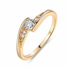 Eternity Swarovski Crystal NEW STYLE 18k gold filled wonderful girl ring Sz5-Sz9