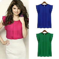 Fashion 1pc Womens Chiffon Tulip Short Sleeve Casual Shirt Loose Blouse Tops