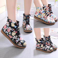 Women Sexy Comfort Hiking Lace Up Flat Flower Flat Ankle Boots Booties Shoes