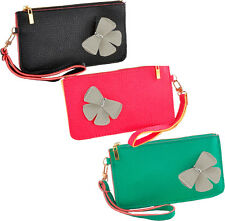 Bright Colourful Faux Leather Small Wrist Bag/Purse with Flower Motif
