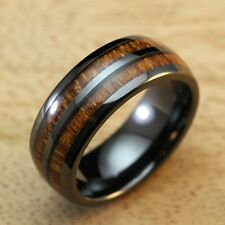 Mens 8mm Black Ceramic Ring with Double Koa Wood Inlay