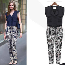 Women V Neck Chiffon Sleeveless Floral Bodycon Summer Jumpsuit Casual Long Pants