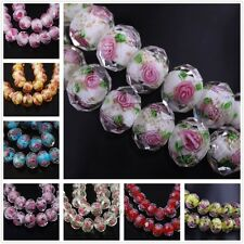 10Pcs Charms Rose Faceted Lampwork Glass Flower Loose Spacer Bead Findings12x8mm