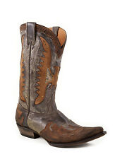 STETSON  # 12-020-6102-0554 BR- CRACKLE GREY VAMP&SHAFT W/ OVERLAY Cowboy Boot