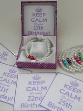 Keep Calm it your 29th 30th 31st Birthday Gift Personalised charm Bracelet box