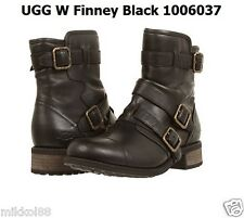 UGG Australia Women's Finney Black Leather Buckled Motorcycle Boot 1006037 NEW