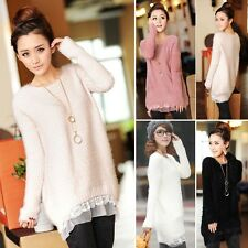 Korean Fashion Women Long Sleeve Knitted Jumper Pullover Casual Sweater Knit Top