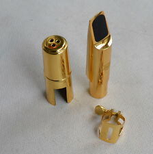 Tenor Sax Saxophone Metal Mouthpiece  with Cap and Ligature Golden Plated NEW