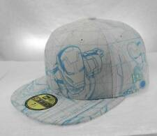 NEW ERA Hat 59FIFTY Iron man 3 All Over Sketch Official White Fitted Cap 7 1/2