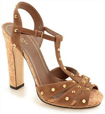 AUTH $895 Gucci Women Brown Suede Heel Sandal Shoes