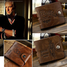 Fashion Retro Classic Men's Fine Bifold Brown PU Leather Printed Purse Wallet