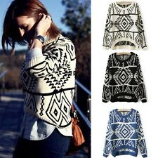 Winter Autumn Women Geometric Pattern Kintted Wear Short Pullover Jumper Sweater