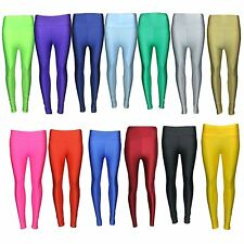 New Womens American High Waisted Shiny Disco Leggings Wet Look PVC Stretch Pants