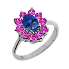 1.45 Ct Oval Royal Blue Mystic Topaz Pink Sapphire 14K White Gold Ring