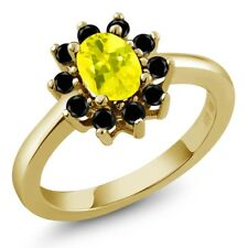 1.28 Ct Oval Canary Mystic Topaz Black Diamond 18K Yellow Gold Ring